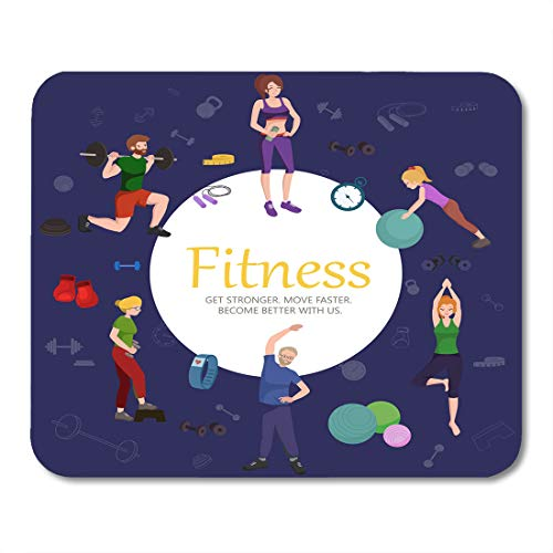 "Price comparison product image Boszina Mouse Pads Healthy People Workout in Gym Fitness Woman and Man Training Exercise Activity Sport Lifestyle Weight Mouse Pad 9.5"" x 7.9"" for Notebooks,Desktop Computers Office Supplies"