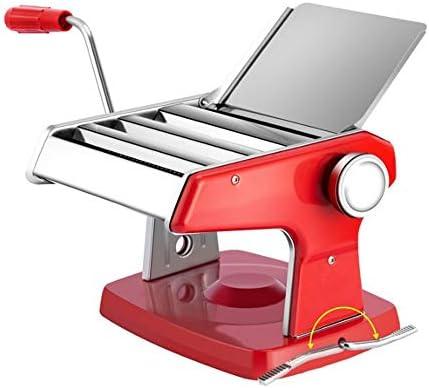 パスタ機 3枚のブレード6つの調節可能な厚さの設定のパスタメーカーマシンパスタクランクステンレスパスタローラーマシン (色 : Red, Size : 22X22X16CM)