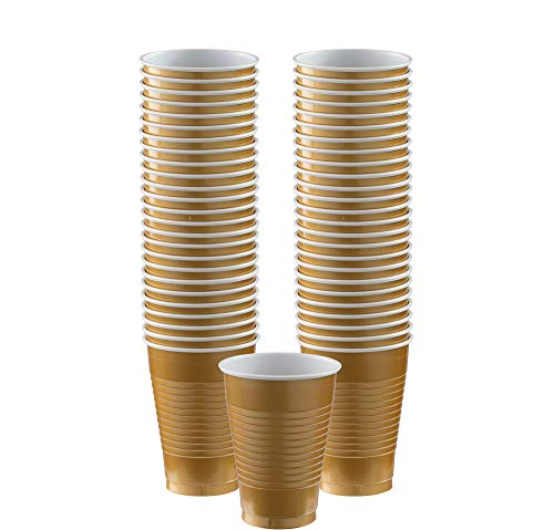Big Party Pack Gold Plastic Cups | 12oz. | Pack of 50 | Party Supply ()