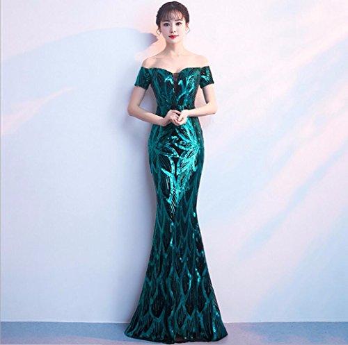 WBXAZL El Vestido de Noche es Elegante y Elegante. Verde