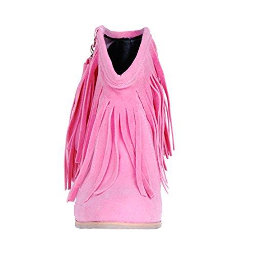 Aiyoumei Mujeres Toe Block Block Tacones Borla Otoño Invierno Nubuck Leather Tobillo Pink