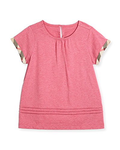 BURBERRY Girl's Gisselle Check Trim Cotton Top In Plum Pink - Burberry Pink