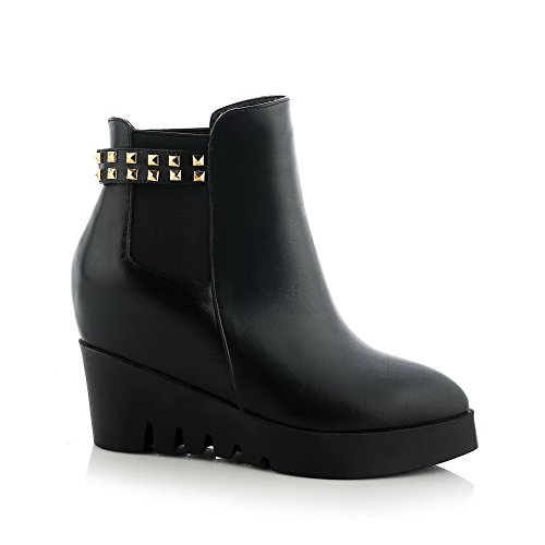 AmoonyFashion Womens Pointed-Toe Closed-Toe High-Heels Boots With Rivet and Wedge Black YDaX5X