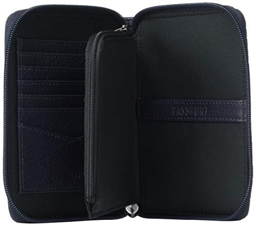 "41MswpnvRbL - Fossil Men's Zip Passport Case ,Midnight Navy,6""L x 0.75""W x 4.5""H"