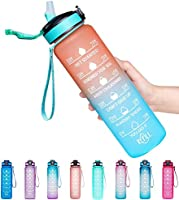 Giotto 32oz/22oz Leakproof BPA Free Drinking Water Bottle with Time Marker & Straw to Ensure You Drink Enough Water...