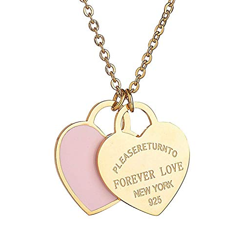 (Designer Inspired Gold Titanium Steel Forever Love Double Heart Pendant Necklace (Pink)