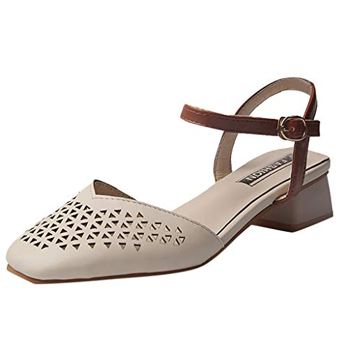 (TnaIolral Women Pumps Sandals Summer Thick with Casual Hollow Belt Buckle Shoes (US:6, Beige) )