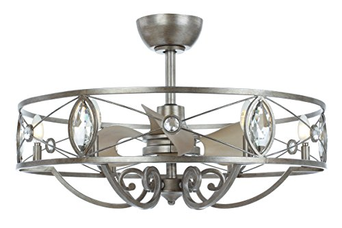 Indoor Ceiling Fans 6 Light Bulb Fixture with Silver Mist Finish Steel and K9 Crystal and PP Material CA Bulbs 31 inch 24 (Light Fixture Silver Mist)