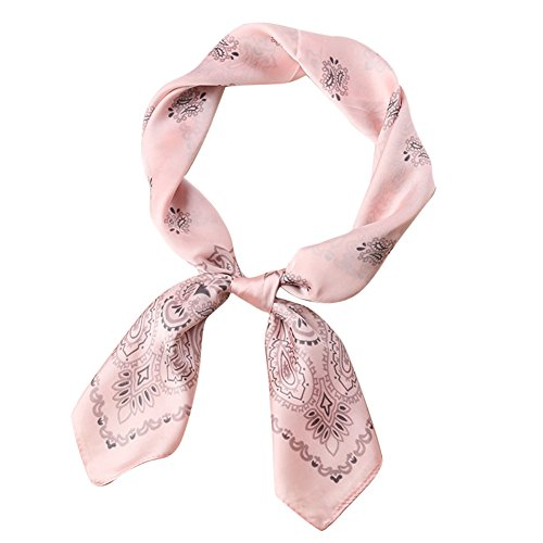 Print Neck Scarf (Fashion Square Silk Like Neck Scarves for Women Floral Print Hair Headdress 27.5