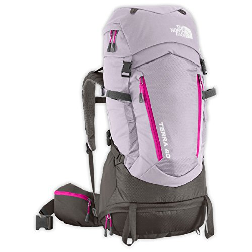 The North Face Terra 40 Hiking Backpack Womens (Dapple Grey/Fuchsia Pink, XS/S)