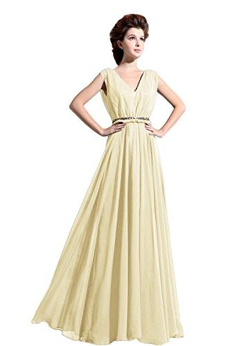 Bridal_Mall - Vestido - trapecio - Sin mangas - para mujer amarillo 44