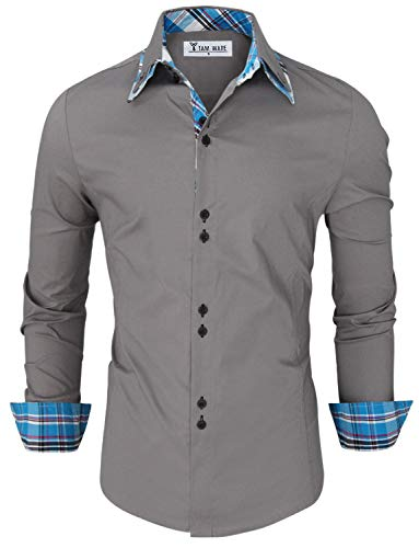 Best TAM WARE Mens Trendy Slim Fit Inner Checkered Button Down Shirt TWNMS323S-GRAY-US XL