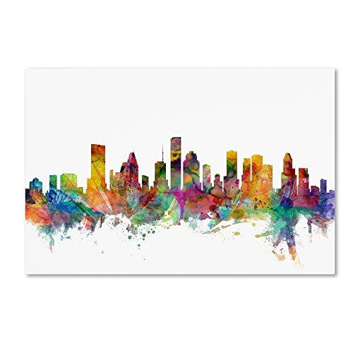 Houston Texas Skyline by Michael Tompsett, 16x24-Inch Canvas Wall Art