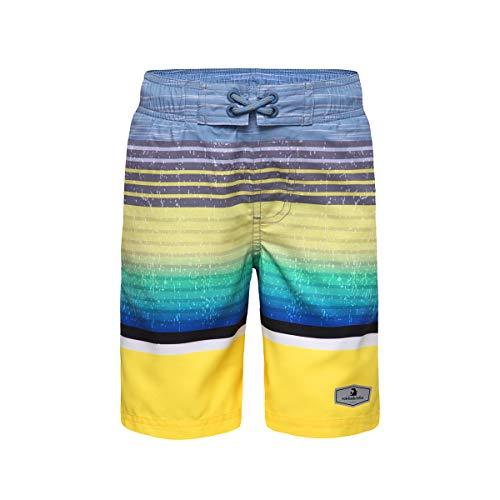 - Rokka&Rolla Boys' Quick Dry Drawstring Waist Swim Trunks Board Shorts with Mesh Lining (XS (4-5), Yellow Stripes)