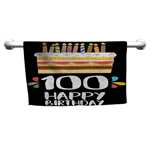 duommhome 100th Birthday Quick Dry Towel Old Legacy 100 Birthday Party Cake Candles on Black Major Milestone Backdrop W12 x L27 Multicolor