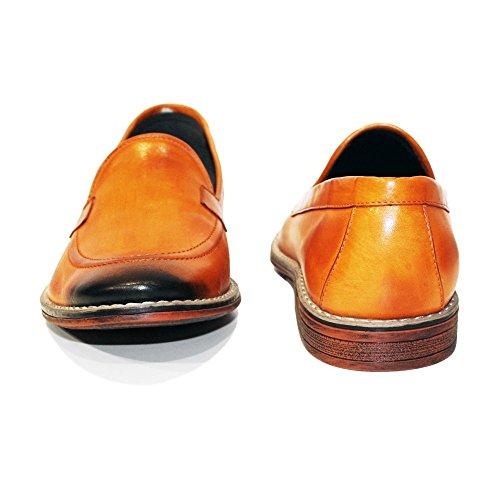 PeppeShoes Modello Carrotto - Handgemachtes Italienisch Leder Herren Orange Mokassins Müßiggänger und Slip-Ons - Rindsleder Handgemalte Leder - Schlüpfen