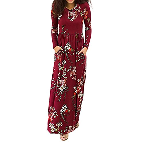 Print Pockets Empire Waist Pleated Long Maxi Dresses ()
