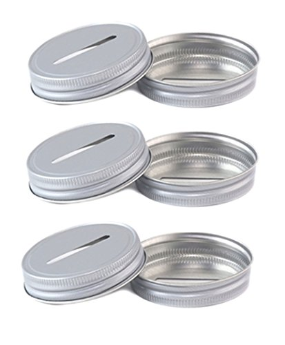 Coin Slot Lid - Aluminum Color for Mason Jar Banks (6)
