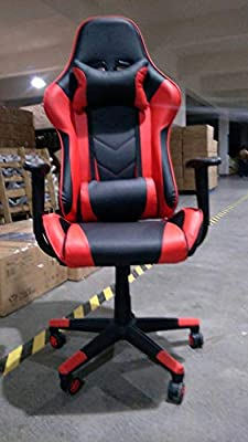 Kinsal Gaming Chair with Footrest Racing Style High-Back PU Leather Office Chair Computer Desk Chair Executive and Ergonomic Style Swivel Chair with Headrest and Massage Lumbar Support from Kinsal