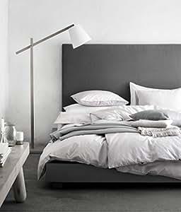light grey washed cotton duvet quilt cover 3pc set full queen double 100 cotton. Black Bedroom Furniture Sets. Home Design Ideas