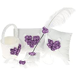 Decdeal 5pcs/set Flower Girl Basket + Ring Bearer Pillow + Guest Book + Pen Holder + Bride Garter