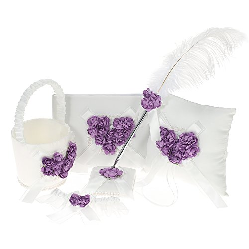 (Decdeal 5pcs/Set Wedding Supplies Flower Basket + Ring Pillow + Guest Book + Pen Holder + Bride Garter Set (Heart-Flower))
