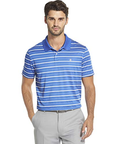 - IZOD Men's Golf Prep Stripe Short Sleeve Polo Shirt, Bright Cobalt, Large