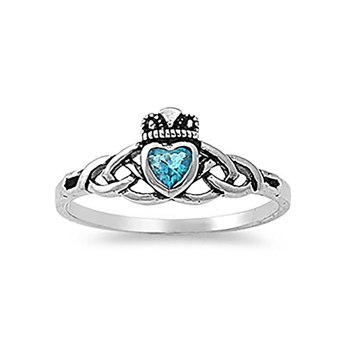 Celtic Knot Irish Dublin Claddagh Ring Simulated Blue Topaz 925 Sterling (Topaz Celtic Claddagh Ring)