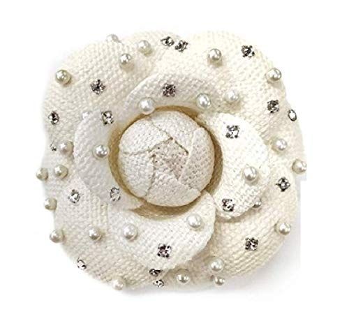 M&S Schmalberg Camellia Pearl and Swarovski Crystal Silk Fabric Flower Pin Brooch - Hand-Made in New York's Garment Center (American Made) (Silk Linen) ()
