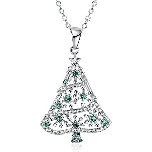 JDXN Christmas Santa Tree Claus Snowman Cubic Zirconia Pendant Necklace for Women Girls Christmas Jewelry (Silver Christmas Tree)]()