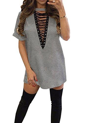 Party Mini Women's Grey Clubwear Lace Dress Sexy Club V Deep Sexyshine up Shirt T Neck Halter PpaFpnW