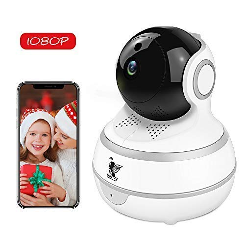 (Wireless IP Security Camera, Nanny Cam, 1080P WiFi Home Surveillance Indoor Camera Pan/Tilt with Cloud Service, Motion Tracker, Auto-Cruise, Night Vision, Two-Way Talk Elder/Pet/Office/Baby Monitor)