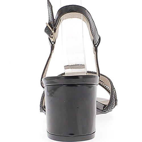 ChaussMoi Grande 6cm di Spessore Verniciato flange o Sandali Strass Tacco Nero