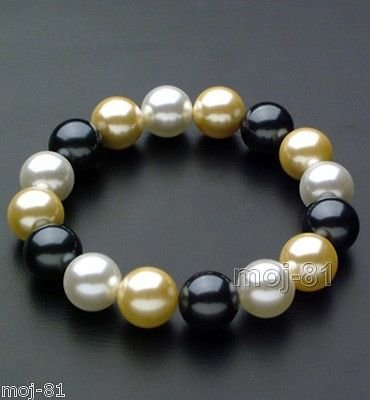 Natural 10mm Round Multi-Color South Sea Shell Pearl Stretchy Bracelet 7.5'' ()