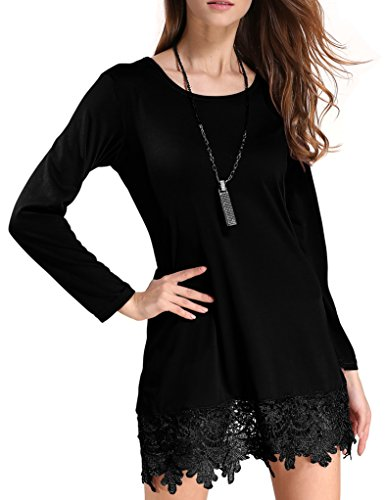 Match Women's Long Sleeve Lace Casual Dress(X-Large, BBX-8191 Midnight black)