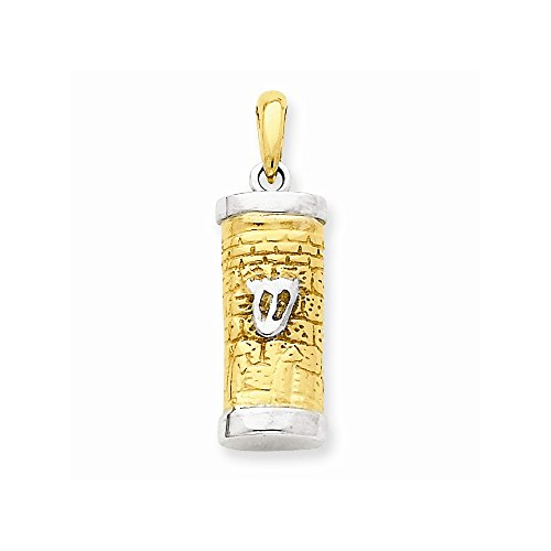 - 14k Two-tone Mezuzah Pendant, Best Quality Free Gift Box