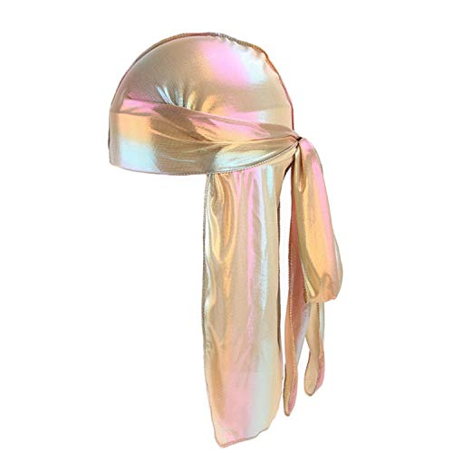 (Unisex Deluxe Silky Durag Extra Long-Tail Headwraps Pirate Cap 360 Waves Du-RAG (Golden 1pc))