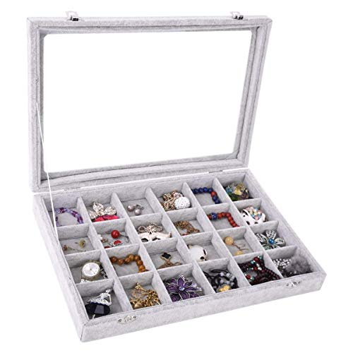 (Pasutewel Velvet 24 Grid Jewelry Tray Box Removable Display Case Organizer Glass Top)