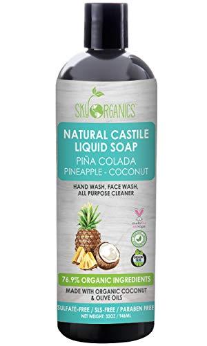 (Castile Soap Organic Pina Colada by Sky Organics (32oz), Plant Based Liquid Soap and All Purpose Wash, Vegan & Cruelty-Free, Pineapple-Coconut Essential Oils Natural Body Wash Savon de Marseille)