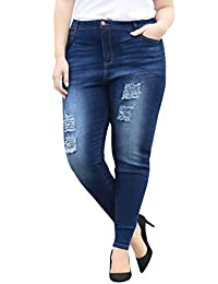 Agnes Orinda Women's Plus Size Mid Rise Distressed Washed Skinny Jeans