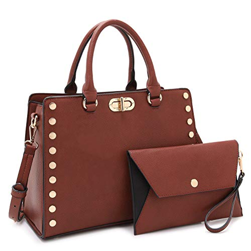 Dasein Purses and Handbags for Women Satchel Bags Top Handle Shoulder Bag Work Tote Bag With Matching Wallet - Flat Wallet Purse