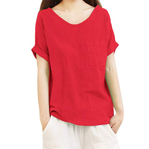 Aniywn Women Loose Cotton Linen Pocket Short Sleeve Pullover Tee Ladies Plus Size Tunic Henley Tops Red