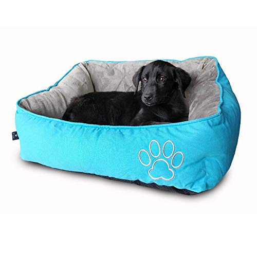 WarmShe Pet Bed for Dogs and Cats, Ultra-Soft Warm Paw Print Pet Bed Sofa Water Resistant with Removable & Washable…