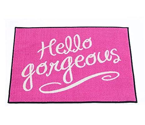 Amazon.com: Pink Hello Gorgeous – Felpudo de Bienvenida 2 x ...