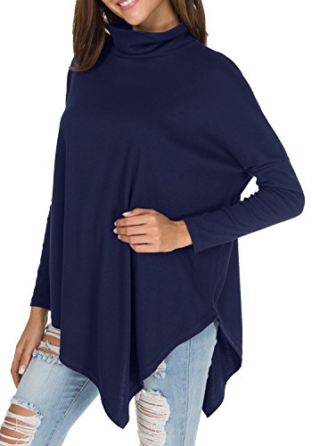 levaca Womens Long Batwing Sleeve Turtleneck Loose Drape Jersey T Shirts Deep Blue M