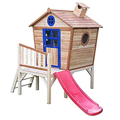 Big Game Crooked Playhouse with Slide and Platform