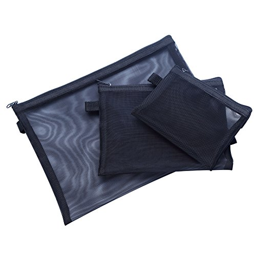 HOYOFO Mesh Makeup Bag with Zipper Travel Cosmetics Organizer See Through Beauty Essentials Storage Bag Pack of 3 (S/M/L),Black by HOYOFO (Image #5)
