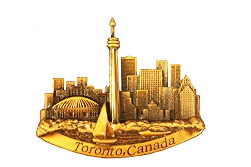 TORONTO CANADA CN TOWER Skyline Bronze Embossed Fridge Magnet .. New