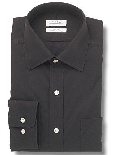 Enro Big&Tall-Newton Pinpoint Oxford Spread Collar Non-Iron Dress Shirt (Black,18 x 36/37) Enro Pinpoint