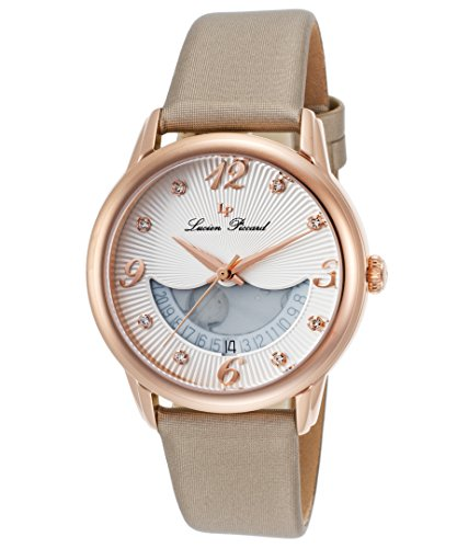 Lucien Piccard Women's 'Bellaluna' Swiss Quartz Stainless Steel and Leather Casual Watch, Color:Beige (Model: LP-40034-RG-02-BGSS)